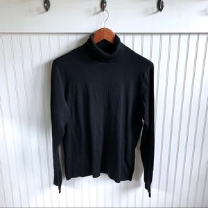 CASUAL CORNER | Black Turtleneck Sweater 76% Silk